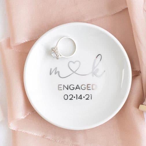 monogram engagement gifts: . Ring Dish