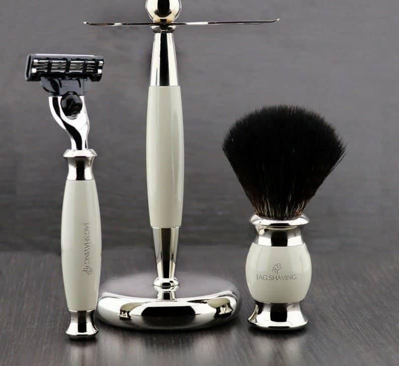 Shaving Set Ivory and Silver Color