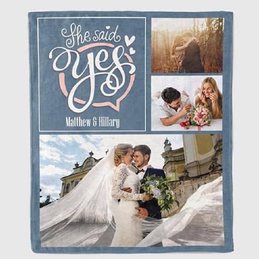 personalized engagement gift: She Said Yes Custom Photo Blanket