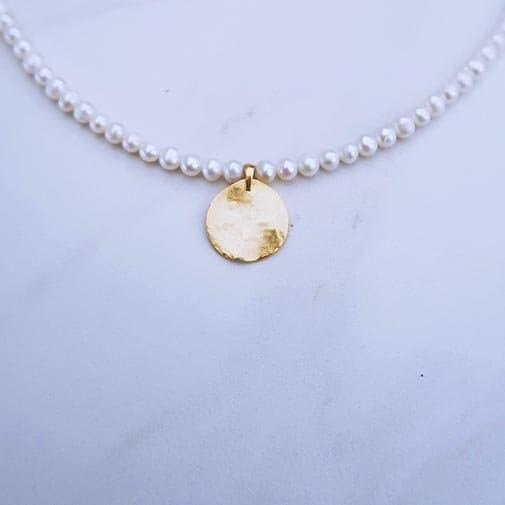 12 year anniversary gift: Ten Wilde Medallion Pearl Necklace