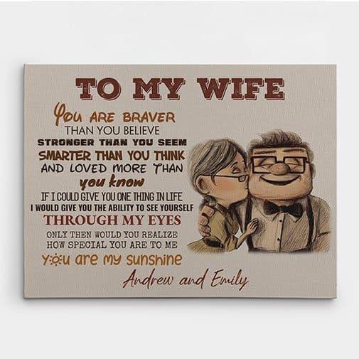 13th wedding anniversary gift:To My Wife Custom Canvas Print