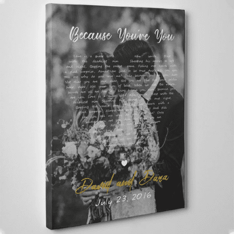 Black and White Song Lyrics on Photo Canvas Print – Vertical - 11th anniversary gift