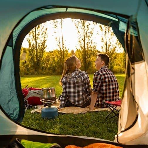 at home anniversary ideas: go camping backyard