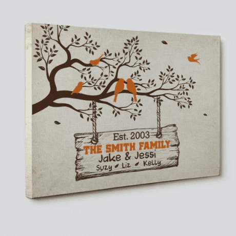 Family Tree Branch With Birds Canvas Print – Custom Family Names & Year - 35th anniversary gift