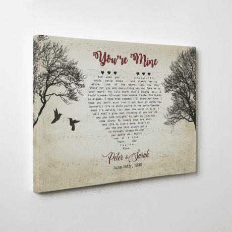 Heart-Shaped Bird Custom Song Lyrics Canvas Print - 35th anniversary gifts
