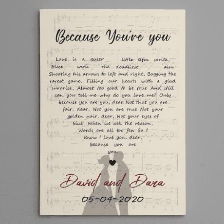 Heart-Shaped Song Lyrics – Custom Vertical Canvas Print - 16th anniversary gift