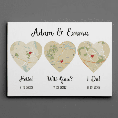 Hello – Will You – I Do Map – Retro Style – Canvas Print - 16th anniversary gifts