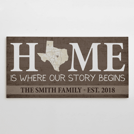 Home Is Where Our Story Begins – Custom Map State Family Name Canvas Print - 35th anniversary gift