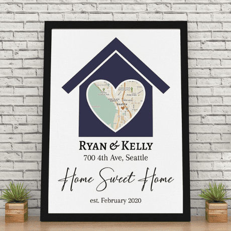 Home Sweet Home Custom Map Canvas Print - 35th anniversary gifts