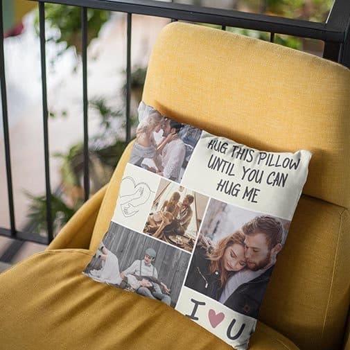 Hug This Pillow Until You Can Hug Me Custom Photo Pillow