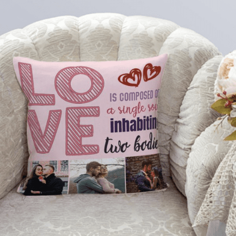 """""""Love Is Composed of a Single Soul Inhabiting Two Bodies"""" Photo Pillow"""