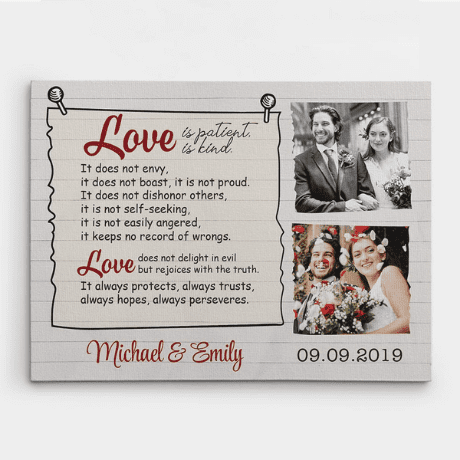 """""""Love Is Patient, Love Is Kind"""" Custom Photo Canvas - 16th anniversary gifts"""