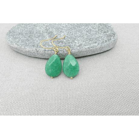 Gold Jade Earrings