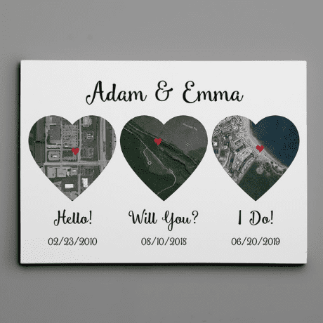 Hello – Will You – I Do Map Satellite Style Canvas Print