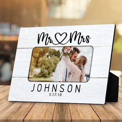 engagement photo gift ideas: Mr And Mrs Custom Photo Desktop Plaque
