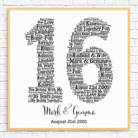 Word Art - 16th anniversary gifts
