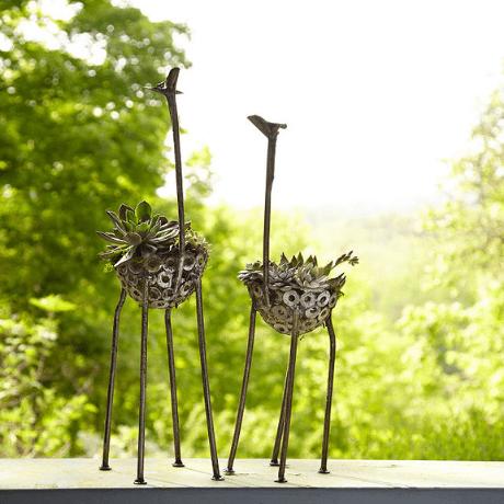 Recycled Metal Giraffe Planter