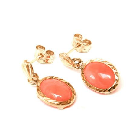 Coral Oval Drop Dangly Earrings