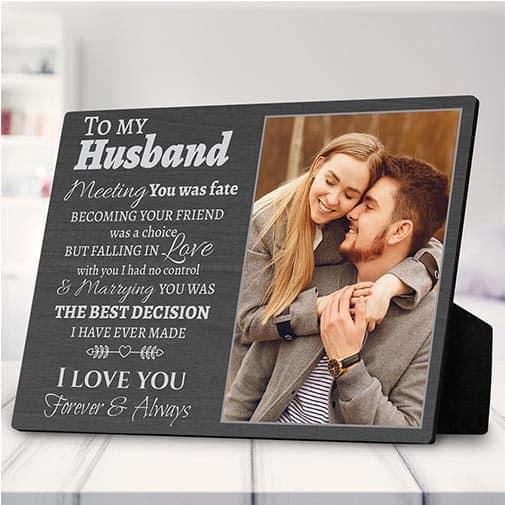 To My Husband Gift Custom Photo Plaque: ivory wedding anniversary