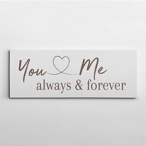 personalized engagement gifts: You And Me Always And Forever Canvas Print