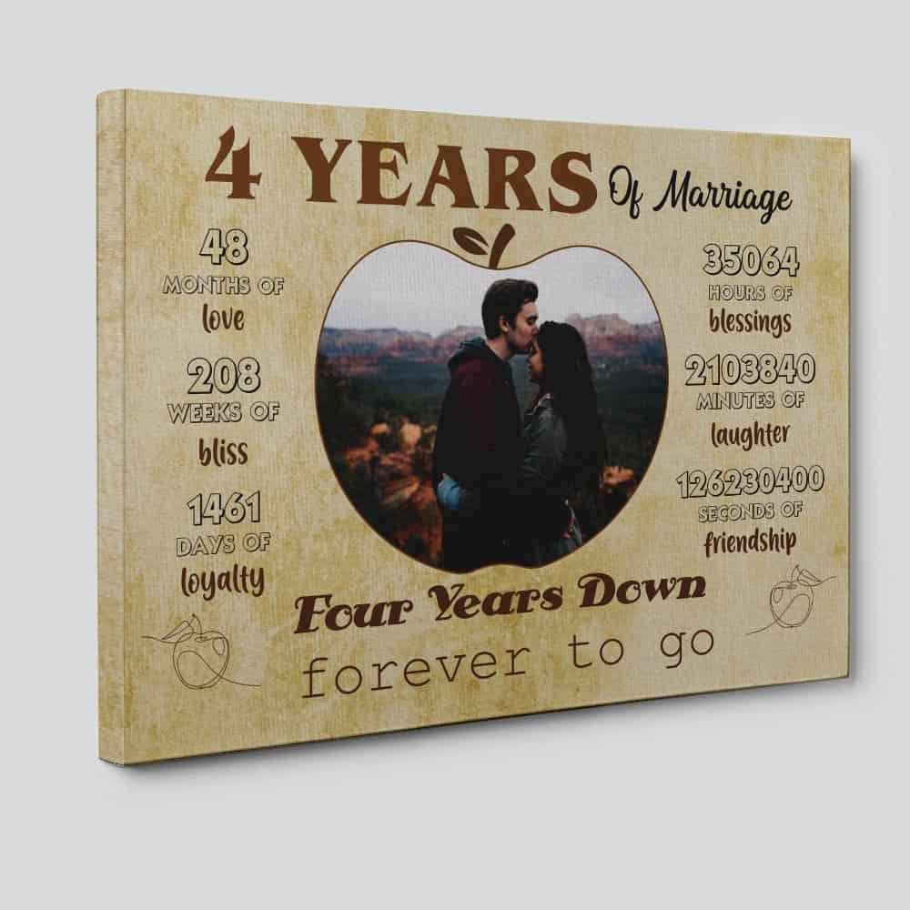 4 Years of Marriage Custom Photo Canvas Print
