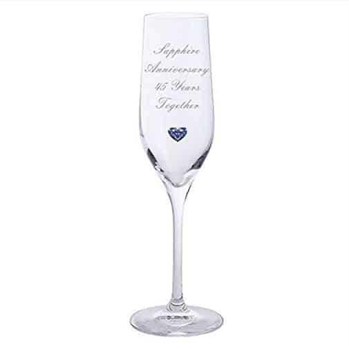 Crystal Champagne Glasses with Blue Heart Gem