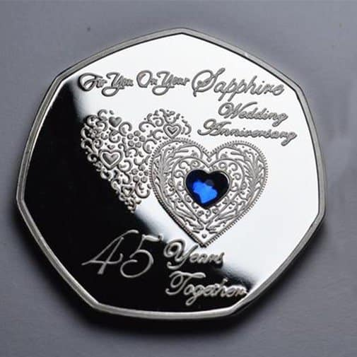 Silver Commemorative with Inlaid Gemstone