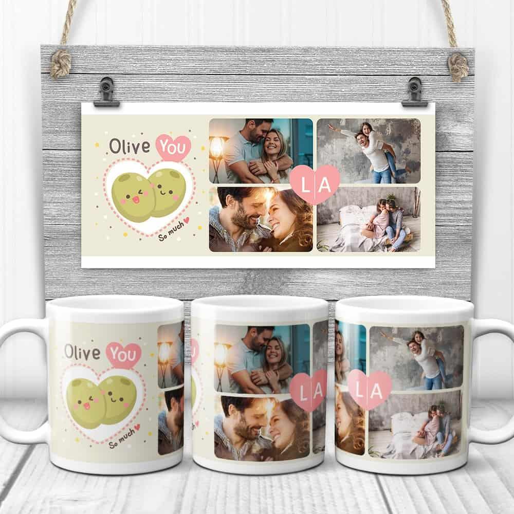 Olive You So Much Custom Photo Collage Mug