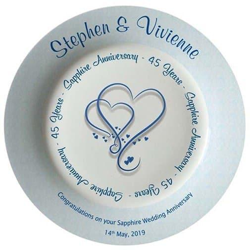45th wedding anniversary gift: Personalised Sapphire Wedding (45th Anniversary) Bone China Plate