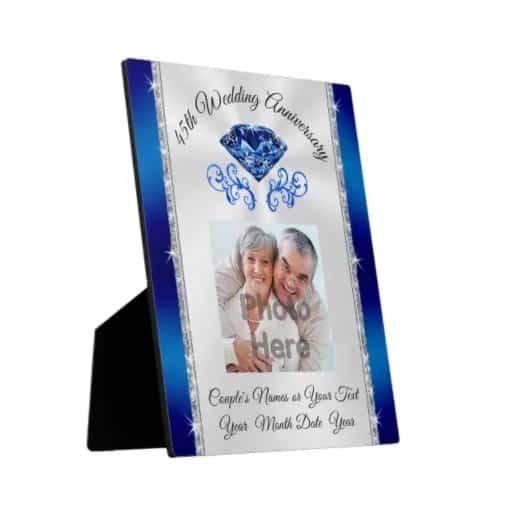 Sapphire Plaque: Photo Custom 45 Year Wedding Anniversary Gift Plaque