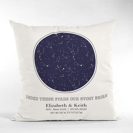 45th anniversary gift: Under These Stars Our Story Began Custom Star Map Pillow