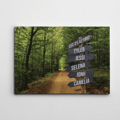 Family Street Sign Custom Canvas Print – Forest