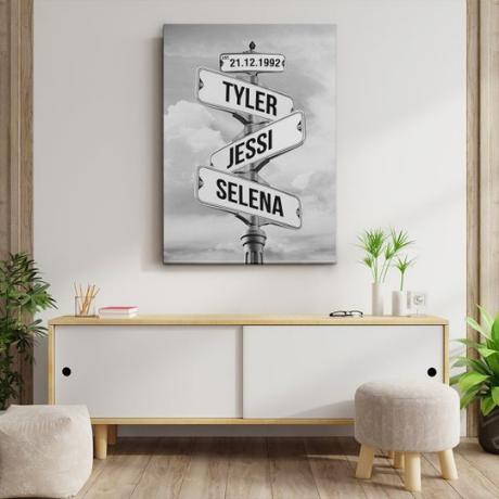 Family Street Sign Custom Canvas Print – Black and White Sky