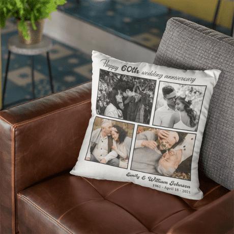Custom Photo Pillow - 60th anniversary