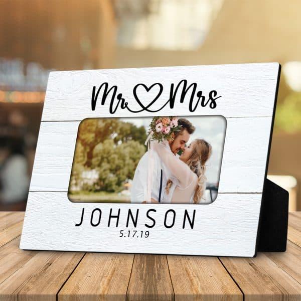 Mr And Mrs Custom Photo Desktop Plaque