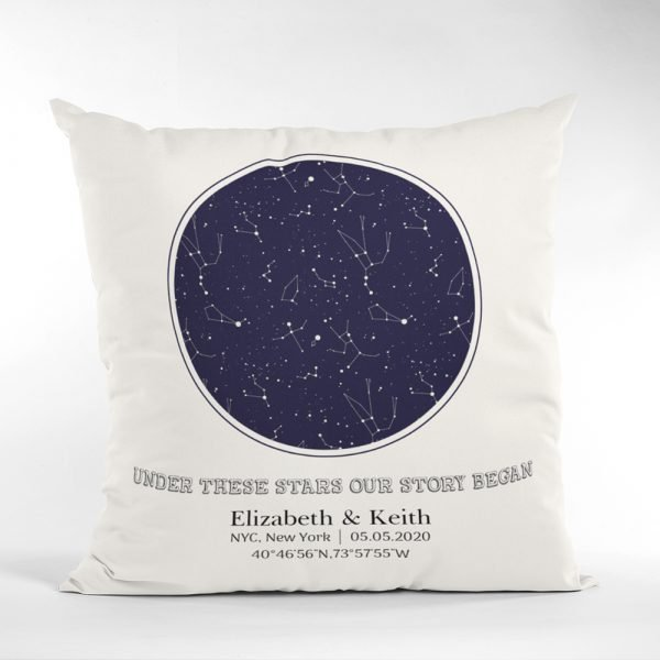 Our Story Began Custom Star Map Pillow