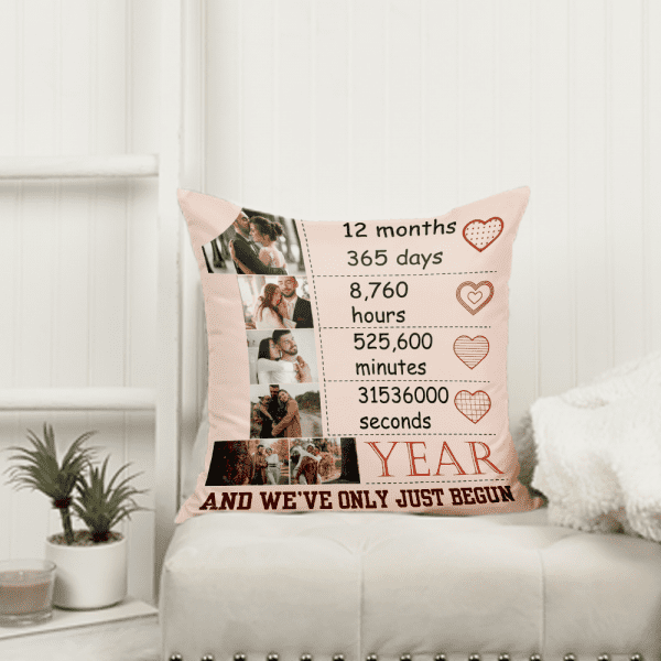We've Only Just Begun Custom Photo Collage Pillow