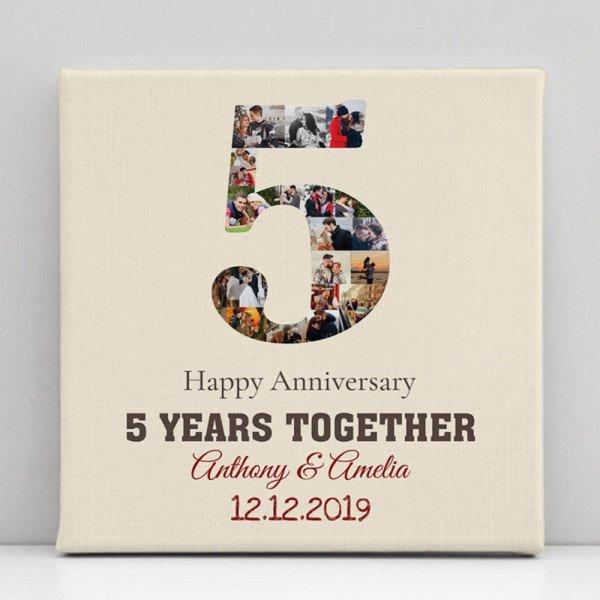 5 Years Anniversary Photo Collage Canvas Print