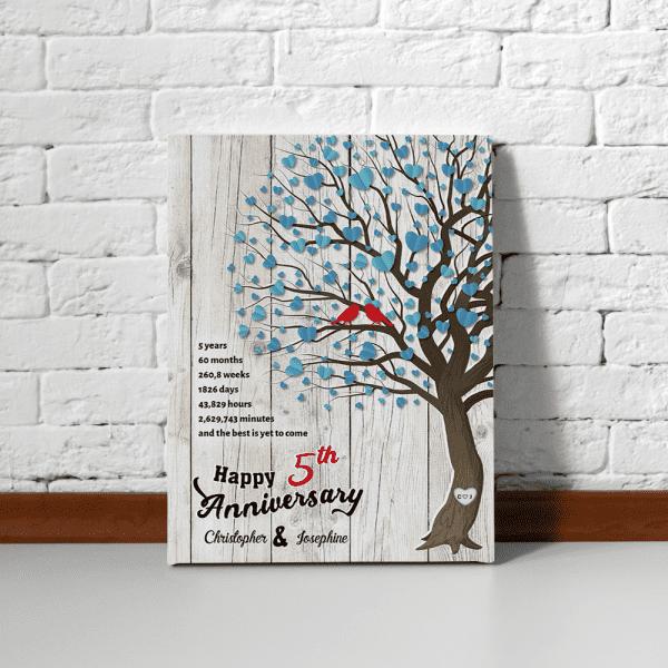 5th Anniversary Family Tree Custom Canvas Print