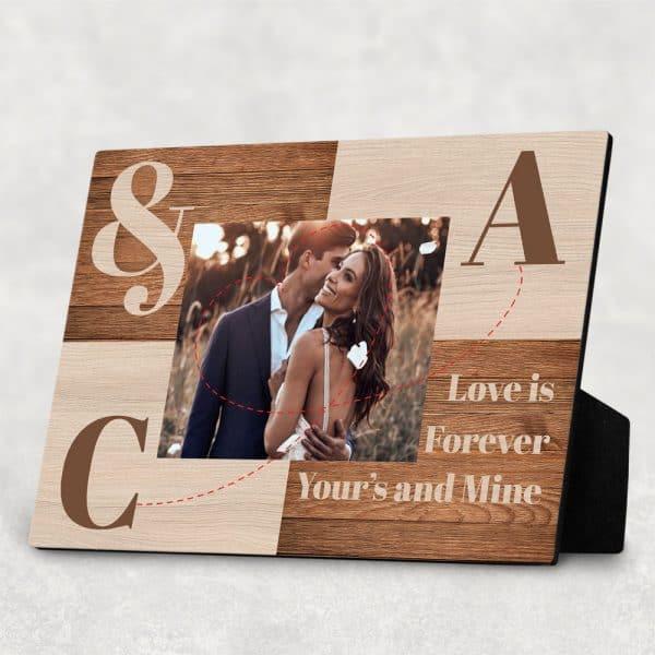 Love Is Forever Couples Initials Desktop Plaque