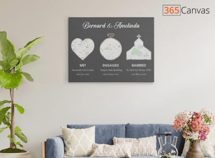 Met – Engaged – Married Custom Map Canvas Print