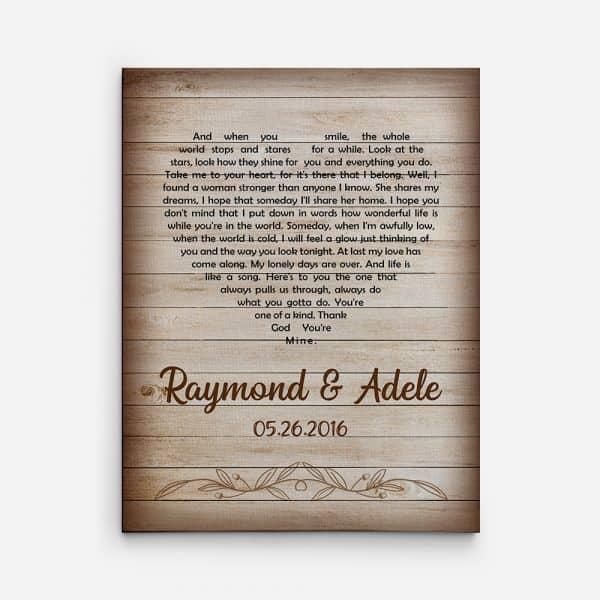 Wedding Song Lyrics 5th Anniversary Canvas Print