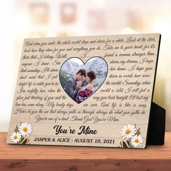Song Lyrics Or Vows (5 Years) Custom Photo Desktop Plaque