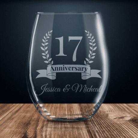 Stemless Glass - 17 year anniversary gift