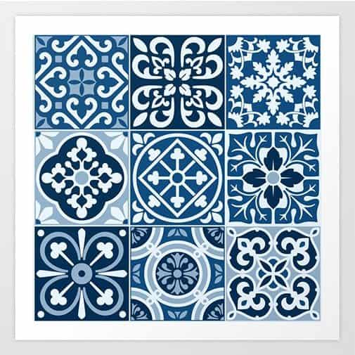 18 year anniversary gift for her: Classic Blue Tiles Art Print