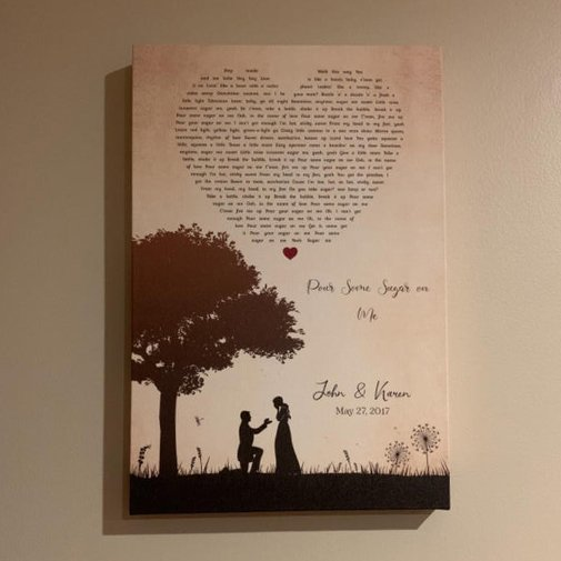 Couple Silhouette-Song-Lyric-Canvas-Print