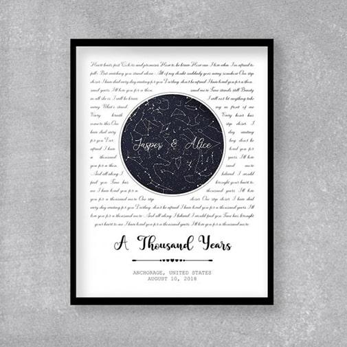 Custom-Star Map And Song Lyrics Framed Print