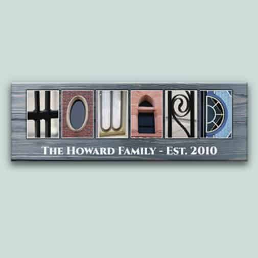 christmas gifts for married couple: Family Name Signs Letter Art Canvas Print