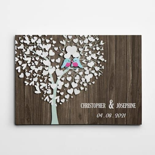 gift ideas for brother and sister in law: Family Tree and Birds Custom Canvas Print