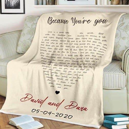 Heart-Shaped Custom Song Lyrics Blanket